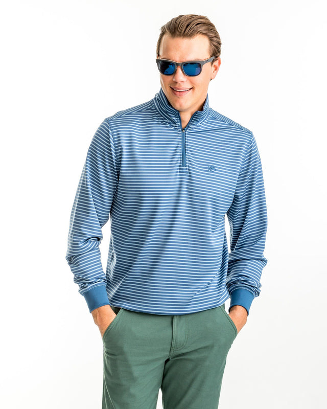 Riverbend Stripe Performance 1/4 Zip Pullover | Southern Tide