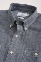 The folded view of the Men's Navy Short Sleeve Performance Dock Shirt by Southern Tide