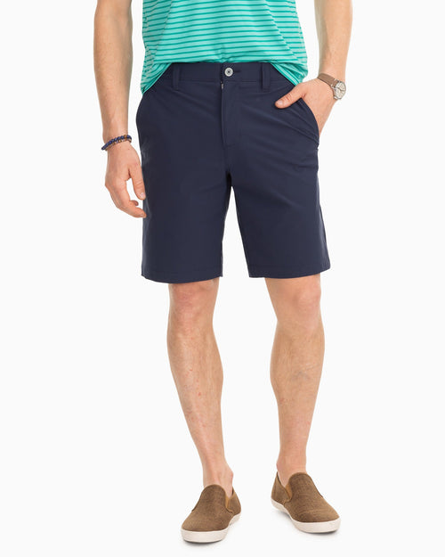 The front view of the Men's Navy T3 brrr® Gulf 10 Inch Performance Short by Southern Tide