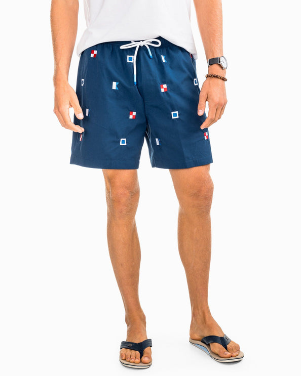 Image of USA Flags Embroidered Swim Trunk