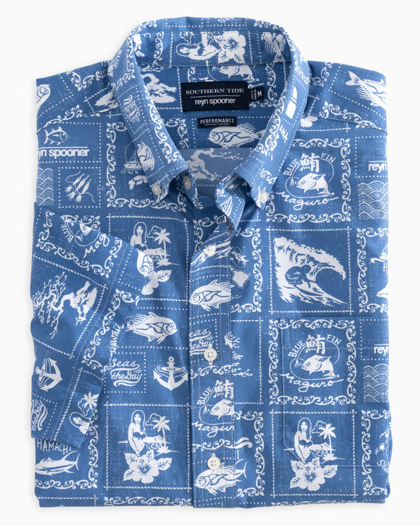 Reyn Spooner Bandana Print Intercoastal Performance Short Sleeve Shirt