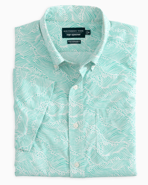 Reyn Spooner Wave Print Intercoastal Performance Short Sleeve Shirt