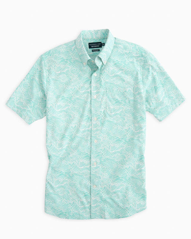Reyn Spooner Wave Print Intercoastal Performance Short Sleeve Shirt | Southern Tide