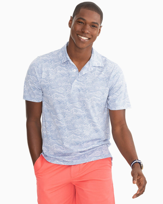 Reyn Spooner Wave Print Performance Polo Shirt | Southern Tide