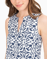 Robyn Geo Print Sleeveless Shift Performance Dress | Southern Tide