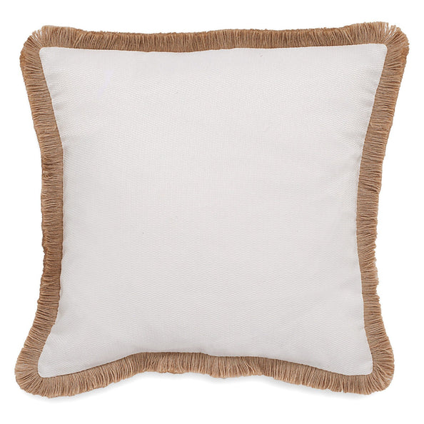 Sandbar Stripe Raffia Trim Decorative Pillow