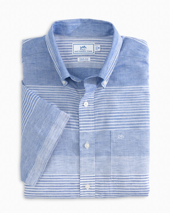 Variegated Striped Short Sleeve Button Down Shirt