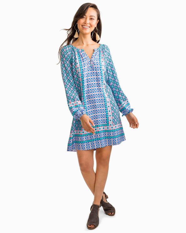 Image of Ashlee Placement Tile Print Tunic Dress