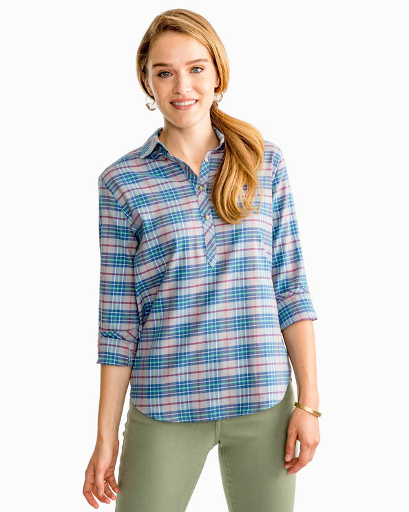 Image of Balsam Plaid Hadley Popover Shirt