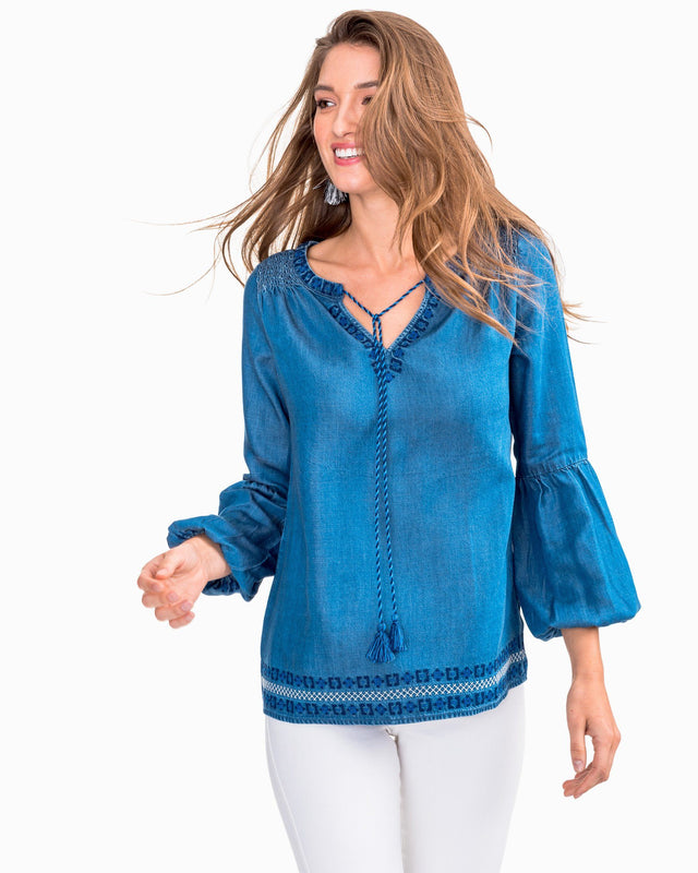 Brinley Tencel Denim Embroidered Peasant Top | Southern Tide
