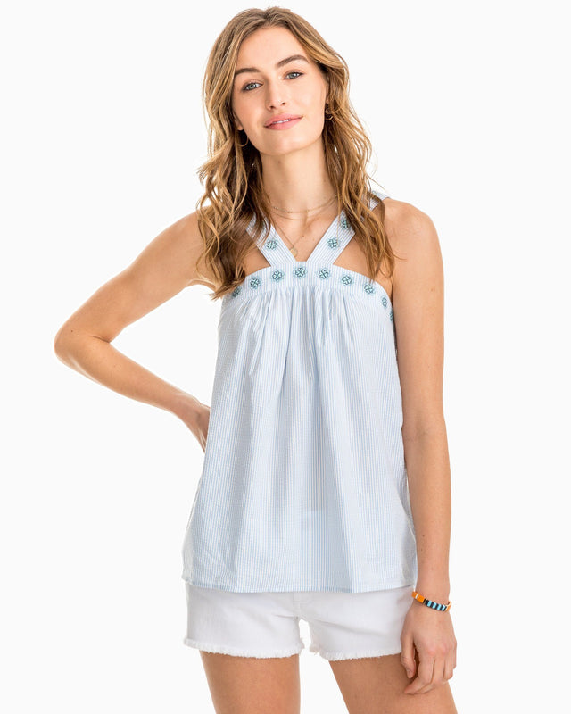 Clara Embroidered Seersucker Tank | Southern Tide