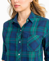 Emery Button Front Coastal Watch Plaid Shirt | Southern Tide