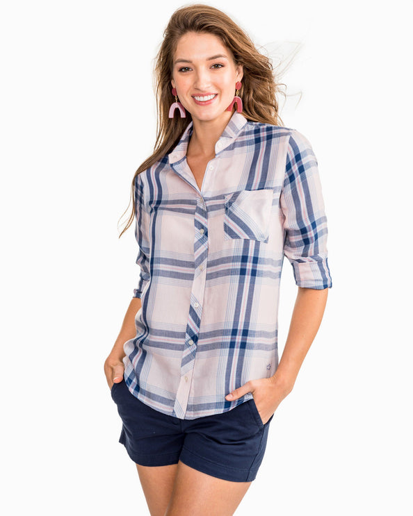 Emery Button Front Plaid Tencel Shirt