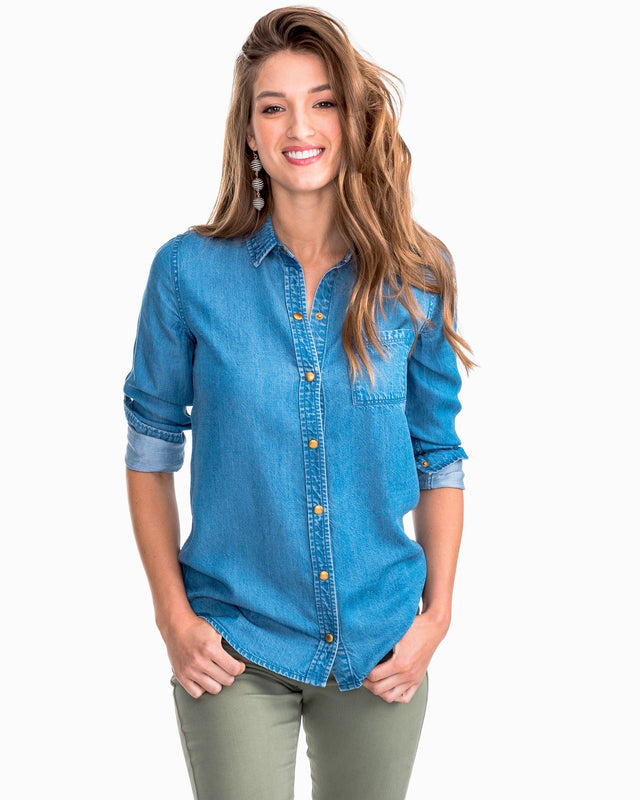 Emery Snap Front Tencel Denim Shirt | Southern Tide