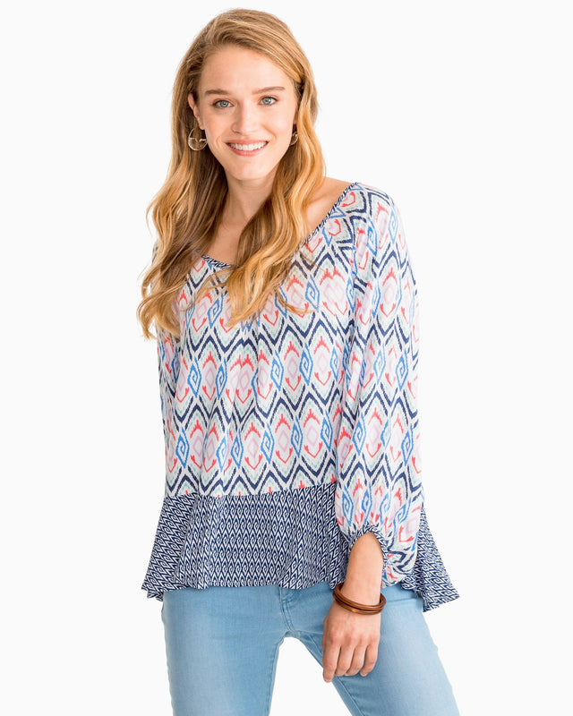 Erika Mixed Ikat Print Swing Top | Southern Tide