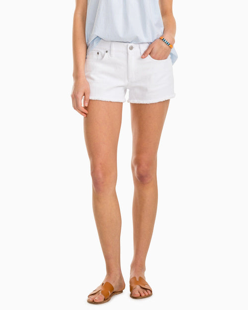The front view of the Women's White Hayes Jean Short by Southern Tide