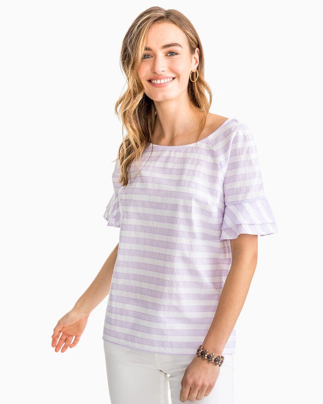 Kelsey Ruffle Sleeve Striped Top | Southern Tide