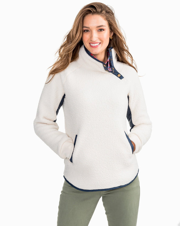 Image of Laura Funnel Neck Sherpa Pullover with Quilted Trim