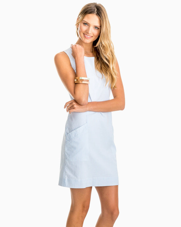 Paislee Blue Seersucker Shift Dress