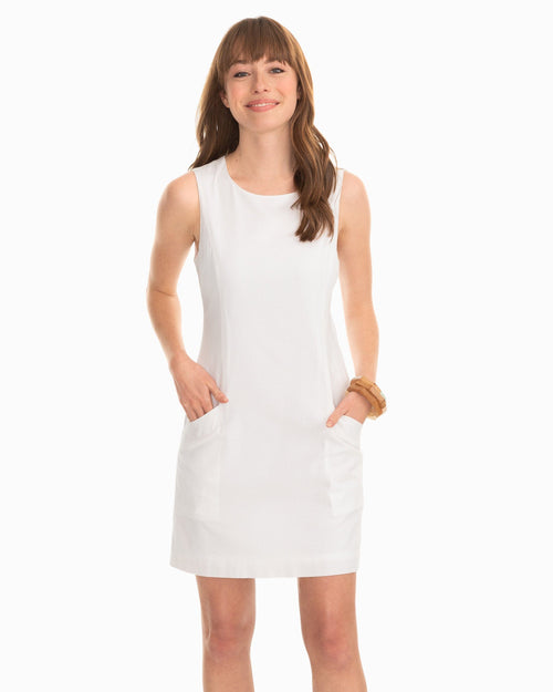 Paislee White Seersucker Shift Dress | Southern Tide