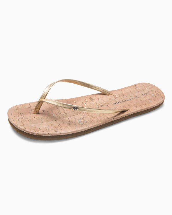 Womens Promenade Cork Flip Flop - Metallic Gold
