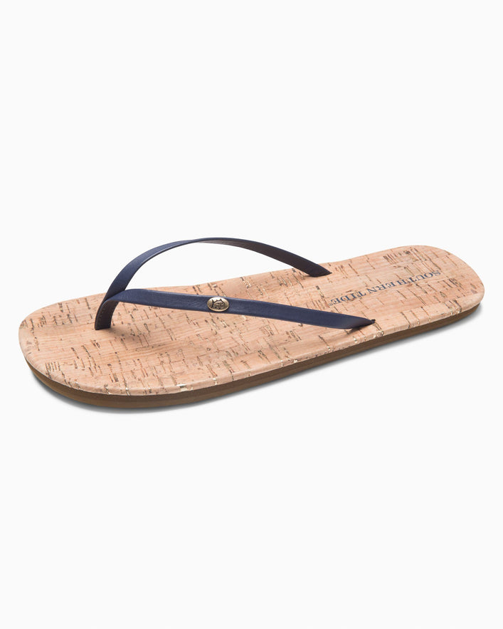 Womens Promenade Cork Flip Flop - Nautical Navy