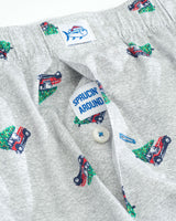 The front view of the Men's Grey Sprucin' Around Holiday Boxer Shorts by Southern Tide