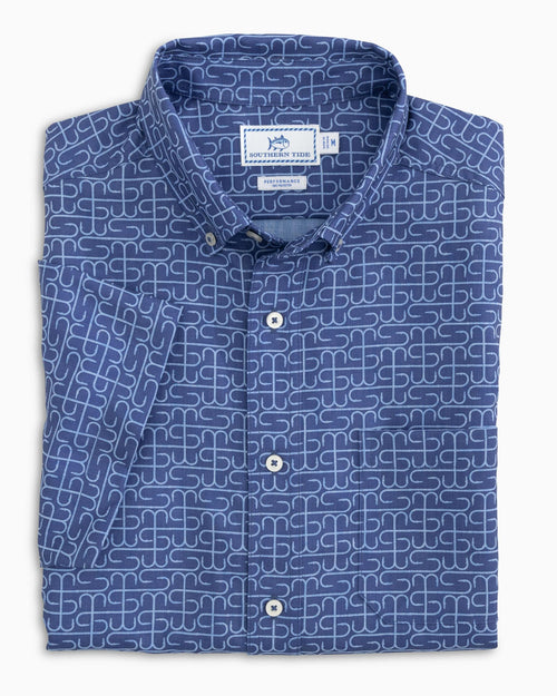 The folded view of the Men's ST Hook Print Short Sleeve Dock Shirt by Southern Tide
