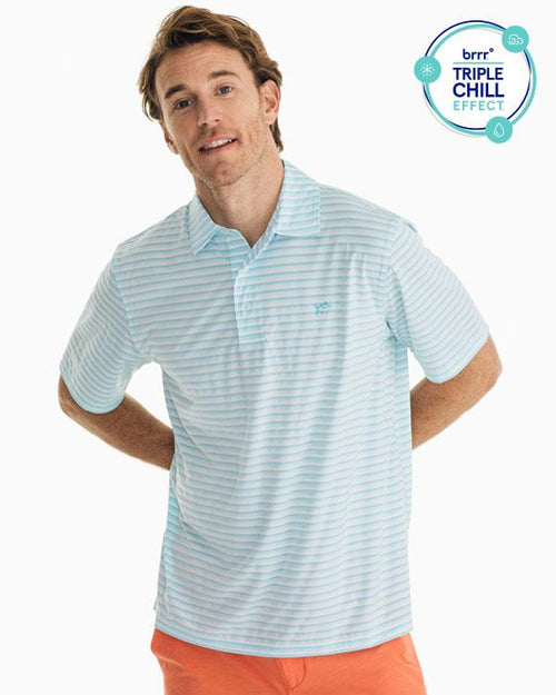 The front view of the Men's Blue Driver Striped brrr® Performance Polo Shirt by Southern Tide
