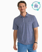 The front view of the Men's Navy Driver Striped brrr® Performance Polo Shirt by Southern Tide