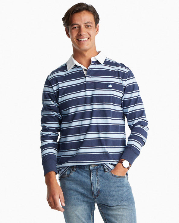 Rugby Striped Long Sleeve Polo Shirt