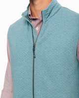 The front view of the Men's Light Blue Sundown Quilted Vest by Southern Tide