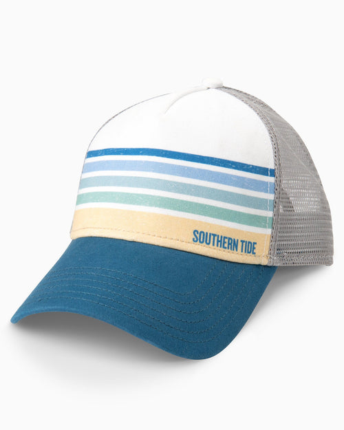 The front view of the Men's White Sundown Striped Trucker Hat by Southern Tide
