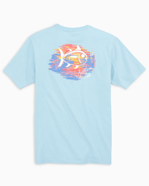 The back view of the Women's Light Blue Sunset Marina Skipjack T-Shirt by Southern Tide