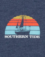 The back view of the Men's Navy Sunset Sailing T-Shirt by Southern Tide