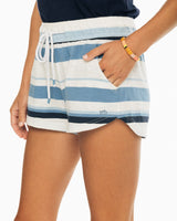 The front view of the Women's Navy Suzie Multi Striped Lounge Short by Southern Tide