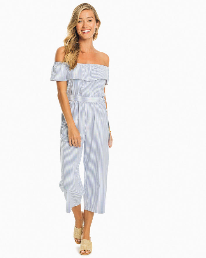 Sybil Off-The-Shoulder Striped Jumpsuit