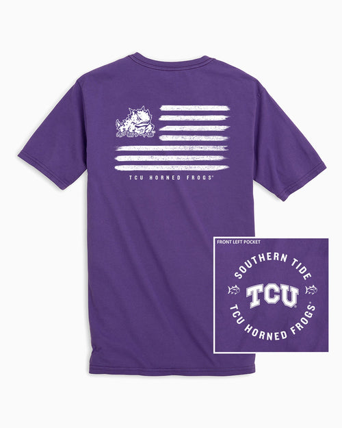 The back view and pocket detail of the Men's Purple TCU Horned Frogs Flag T-Shirt by Southern Tide