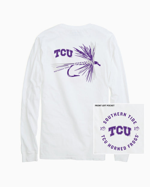 The back view and pocket detail of the Men's White TCU Horned Frogs Fly Long Sleeve T-Shirt by Southern Tide