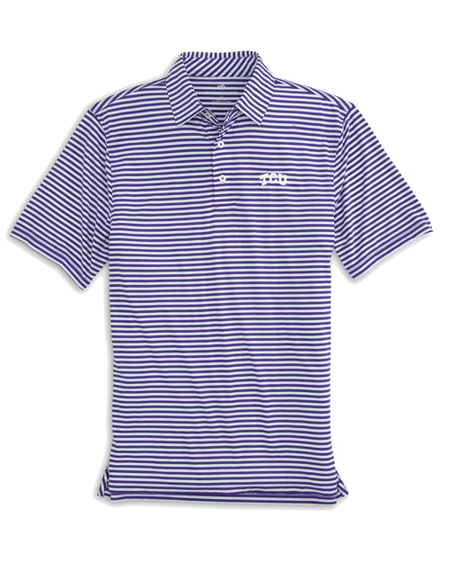 The front view of the Men's Purple TCU Horned Frogs Striped Polo Shirt by Southern Tide