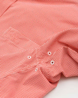 The front view of the Men's Orange Clemson Tigers Gingham Button Down Shirt by Southern Tide
