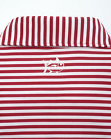The front view of the Men's Red Oklahoma Sooners Striped Polo Shirt by Southern Tide
