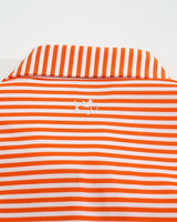 The front view of the Men's Orange University of Miami Striped Polo Shirt by Southern Tide