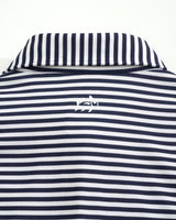 The front view of the Men's Navy West Virginia Striped Polo Shirt by Southern Tide