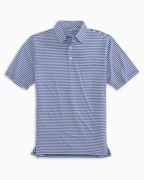 The front view of the Men's Light Blue Team Colors Striped Performance Polo Shirt by Southern Tide