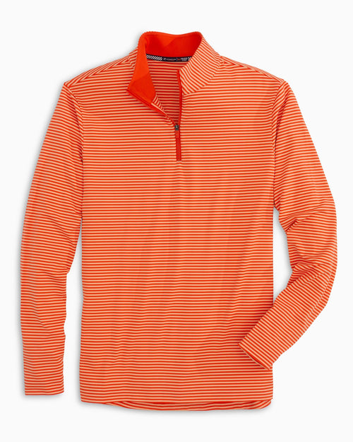 The front view of the Men's Orange Team Colors Tonal Striped Quarter Zip Pullover by Southern Tide