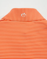 The front view of the Men's Orange Clemson Tigers Striped Quarter Zip Pullover by Southern Tide