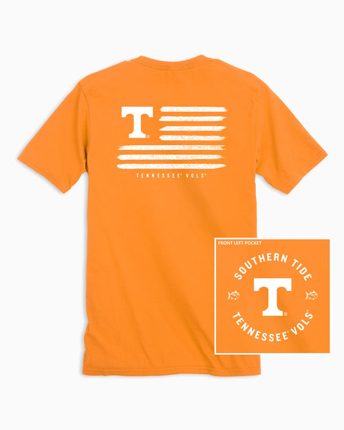 The back view and pocket detail of the Men's Orange Tennessee Vols Flag T-Shirt by Southern Tide