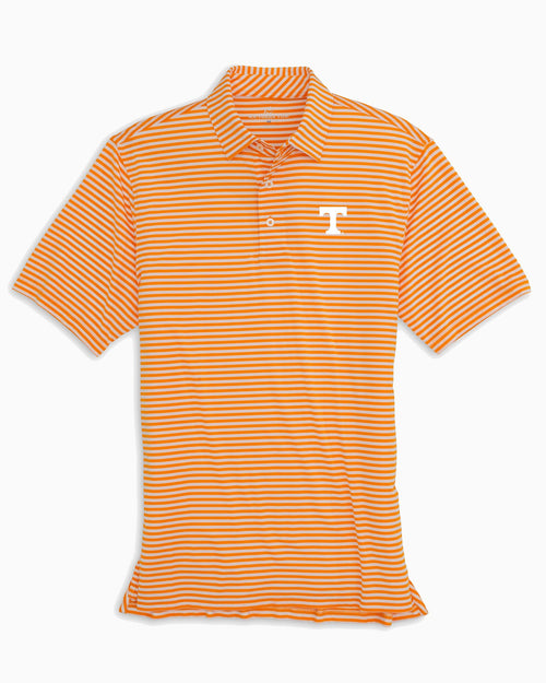 The front view of the Men's Orange Tennessee Vols Striped Polo Shirt by Southern Tide