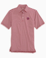 The front view of the Men's Red Texas A&M Aggies Striped Polo Shirt by Southern Tide